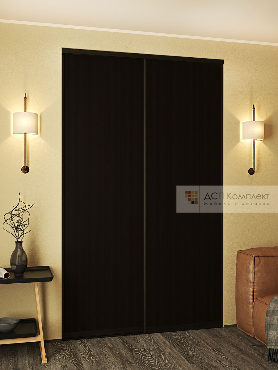 Двери-купе из дсп, цвет дсп дуб феррара черно-коричневый, ру.